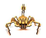 Statuette of wooden scorpion isolated on a white background. Statuette of brown wooden scorpion isolated on a white background royalty free stock photo