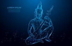 Statuettenmönch, der Instrument spielt abstraktes Muster mit Mönch mit Saiteninstrument auf blauem Hintergrund vektor abbildung