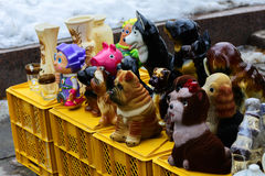 Statuettes and handicrafts at the winter festival Stock Photography