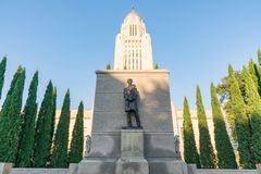 Lincoln Statue at the Nebraska Capitol Building royalty free stock image