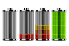 The status of the battery. Stock Image