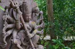 Status of Durga. Statue found in the forest in karnataka. This status is of Goddess Durga. Worshipped by most of the parts of india Royalty Free Stock Image
