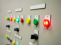 Status indicator light and selective switch of Auto-Manual on electrical control panel Royalty Free Stock Photo