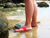 Status in Kalm Oceaanstrandwater royalty-vrije stock foto's