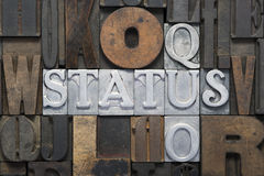 Status quo cr. Oss words made from metallic letterpress blocks in mixed wooden letters Stock Photo