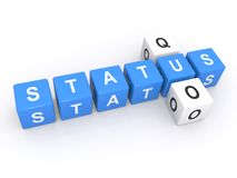 Status Quo sign. 3d letters blocks spelling the words status quo, isolated on a white background Royalty Free Stock Photo