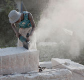 The status quo of some of the stone workers Stock Photography