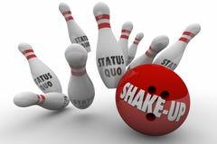 Status Quo Vs Shake-Up Bowling Ball Strike Royalty Free Stock Photography