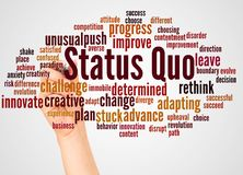 Status Quo word cloud and hand with marker concept. On white background royalty free illustration