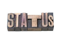 Status wood isol. Status word made from vintage wooden letterpress type isolated on white Royalty Free Stock Images