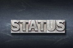 Status word den. Status word made from metallic letterpress on dark jeans background Stock Photography
