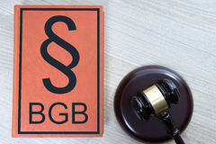 Statute book. And judges gavel with the letters BGB Stock Photo