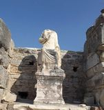 Statute in Ephesus. Ruins of the ancient city of Ephesus in Turkey historic landmark Royalty Free Stock Image