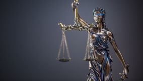 Statute of Justice. Bronze statue Lady Justice holding scales an Royalty Free Stock Photography