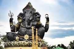 Statute of sitting Ganesha outdoor ,steel Royalty Free Stock Images