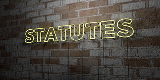 STATUTES - Glowing Neon Sign on stonework wall - 3D rendered royalty free stock illustration Stock Photography