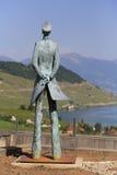 Statuto di Hugo Pratt, uno scrittore italiano del libro di fumetti in Grandvaux, Svizzera Immagini Stock Libere da Diritti
