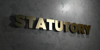 Statutory - Gold text on black background - 3D rendered royalty free stock picture Stock Photography