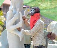 Statuy Buddha carver Obrazy Royalty Free