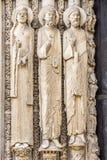 Statuy od zachodniej fasady Chartres katedra, Francja Obrazy Stock