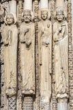 Statuy od zachodniej fasady Chartres katedra, Francja Obrazy Royalty Free