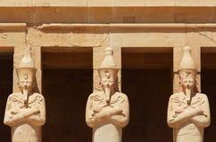 Statuy otacza główne wejście świątynia królowa Hatshepsut w Luxor Obrazy Stock