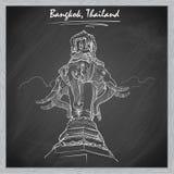 Słoń statuy podróży nakreślenie na blackboard BG Zdjęcia Royalty Free