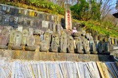 Statuy przy Yamadera świątyni kompleksem Fotografia Royalty Free