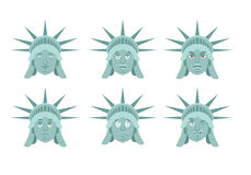 Statuy Wolności emoji Emocja set Agresywny i dobry USA lan ilustracji