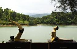 Statuy yogis w różnych asans obraz royalty free