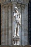 Staty av Adam, Notre Dame Cathedral, Paris arkivfoto