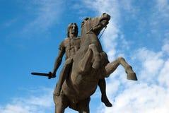 Staty av Alexander det stort på den Thessaloniki staden Fotografering för Bildbyråer
