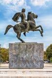 Staty av Alexander storen i Thessaloniki arkivbilder