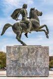 Staty av Alexander storen i Thessaloniki fotografering för bildbyråer