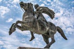 Staty av Alexander storen i Thessaloniki arkivbild