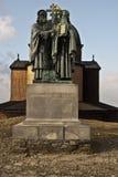 Staty av Cyril och Metod i den Radhost toppmötet Royaltyfria Foton
