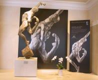 Staty av den Cirque du Soleil konstnären på utställning i Las Vegas Arkivfoto
