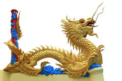 Staty av den guld- draken Arkivfoton