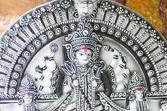 Staty av den hinduiska gudinnan Durga på Durga Puja festivaler arkivbild