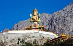 Staty av den Maitreya Buddha på den Duskit kloster, Nubra, Leh-Ladakh, Jammu and Kashmir, Indien Arkivfoton
