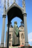 Staty av den Philipp Melanchthon kollaboratören med Martin Luther på marknadsstället i Wittenberg, Tyskland royaltyfri bild