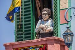 Staty av Diego Maradona i la Boca i Buenos Aires Royaltyfri Fotografi