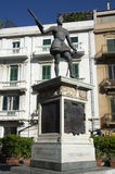 Staty av Don Juan av Österrike i Messina på den Catalani fyrkanten, Sicilien, Italien Arkivfoto