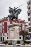 Staty av El Cid i Burgos, Spanien Arkivfoton
