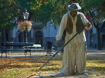 Staty av en traditionell lieman på huvudsaklig fyrkant i Subotica, Serbien royaltyfri fotografi
