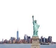 Staty av frihet i New York City på vit bakgrund, USA Arkivfoton