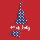 Staty av frihetpappersklipp i kortfack med etiketten av 4th Juli Förenta staternasymbol i medborgarefärger med Royaltyfria Foton