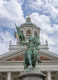 Staty av godfroy de boullion på ställeroyale brussels Belgien Royaltyfri Fotografi