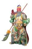 Staty av Guan Yu (gud av heder) på vit bakgrund Royaltyfria Bilder