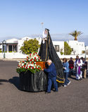 Staty av heliga Mary på påskprocessionen i Yaiza, Lanzarote Arkivbilder